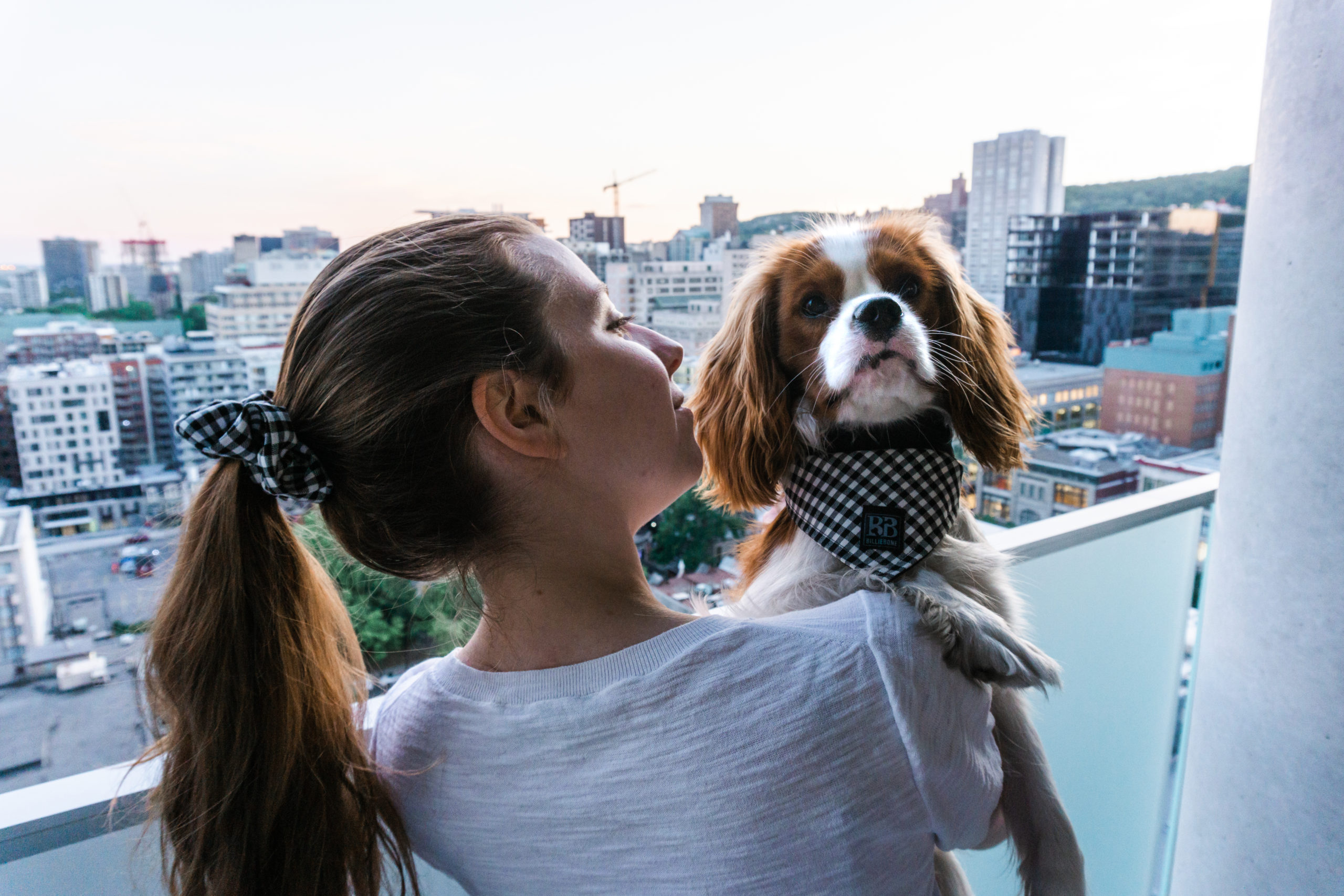 Girl and Dog in the City wearing matching Scrunchie and Bandana